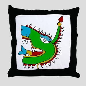Aztec Glyph Alligator Cipactli Throw Pillow