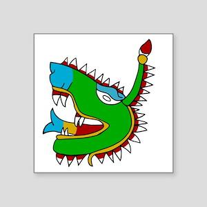 """Aztec Glyph Alligator Cipac Square Sticker 3"""" x 3"""""""