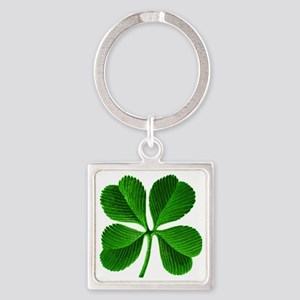 Lucky 4-leaf Clover Square Keychain