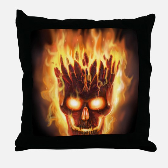 skull bonies head explodes det port Throw Pillow
