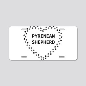pyrenean shepherd paw heart Aluminum License Plate