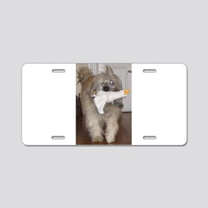 pyrenean shepherd with goose toy Aluminum License