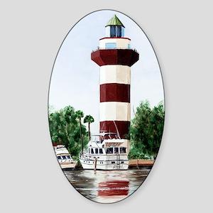 harbor light tall Sticker (Oval)