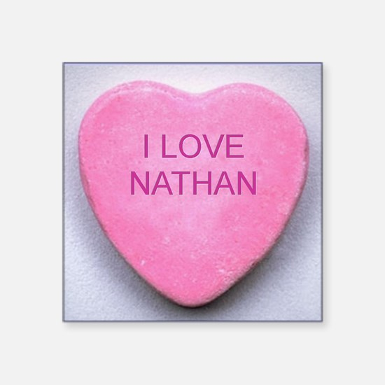 "HEART NATHAN Square Sticker 3"" x 3"""