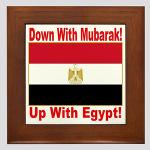 down_with_mubarak_up_with_egypt_transp Framed Tile
