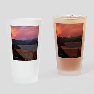 Mt. Shasta Round Wall Clock Drinking Glass