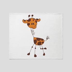 Cartoon Giraffe Throw Blanket