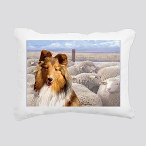 shelty with sheep2 Rectangular Canvas Pillow