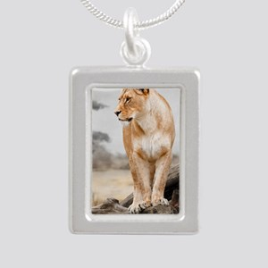lioness-profile White Bo Silver Portrait Necklace