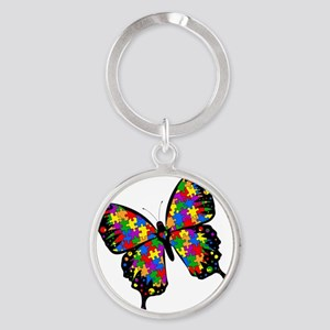 autismbutterfly-rotated Round Keychain