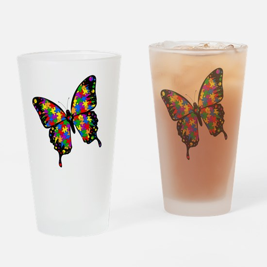 autismbutterfly-rotated Drinking Glass