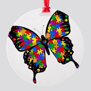 autismbutterfly-rotated Round Ornament
