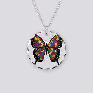 autismbutterfly6inch Necklace Circle Charm
