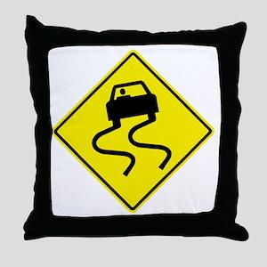 Slippery When Wet Yellow Throw Pillow