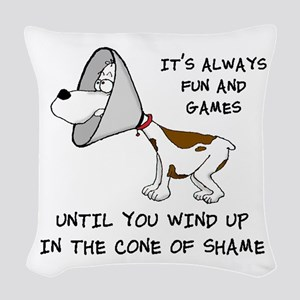 cone of shame3 black 300 Woven Throw Pillow