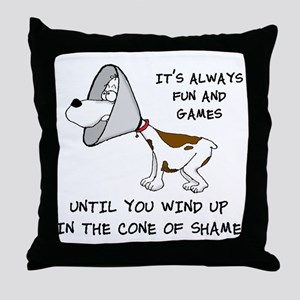 cone of shame3 black 300 Throw Pillow