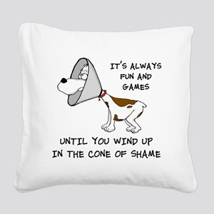 cone of shame3 black 300 Square Canvas Pillow