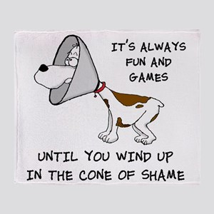 cone of shame3 black 300 Throw Blanket
