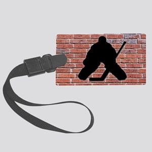 Hockey Goalie Brick Wall Large Luggage Tag