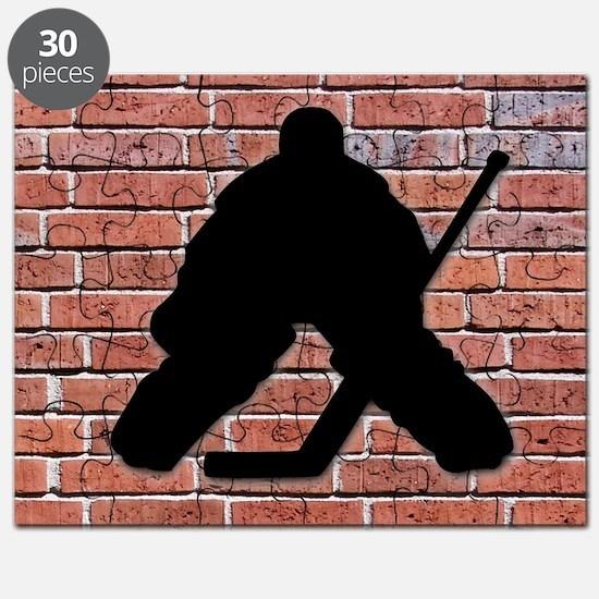 Hockey Goalie Brick Wall Puzzle