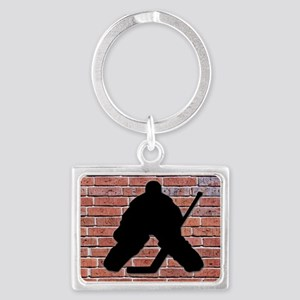 Hockey Goalie Brick Wall Landscape Keychain