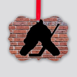 Hockey Goalie Brick Wall Picture Ornament