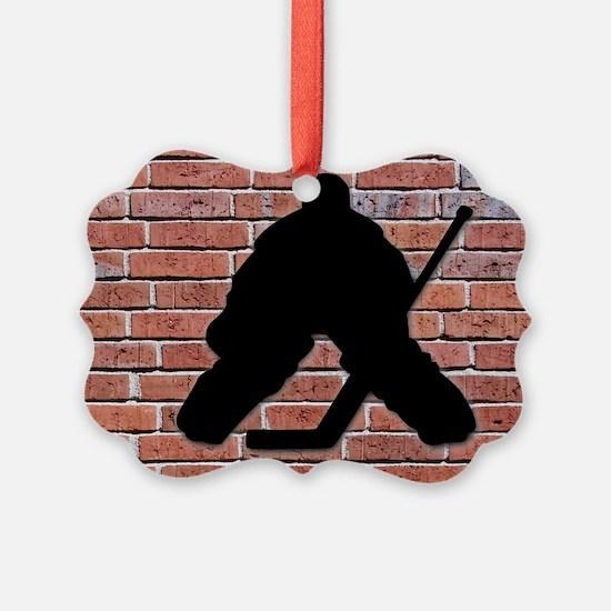 Hockey Goalie Brick Wall Ornament