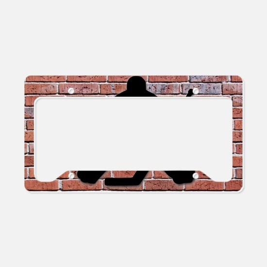 Hockey Goalie Brick Wall License Plate Holder