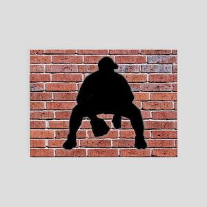 Baseball Brick Wall 5'x7'Area Rug