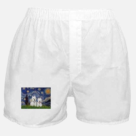 Starry-2Westies (custom) Boxer Shorts