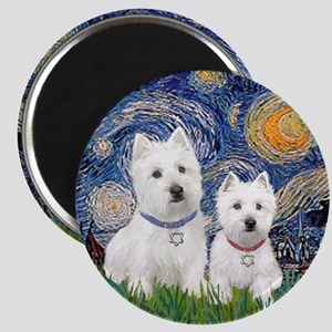 Starry-2Westies (custom) Magnet