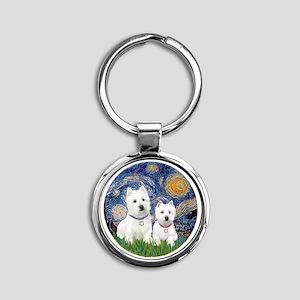 Starry-2Westies (custom) Round Keychain