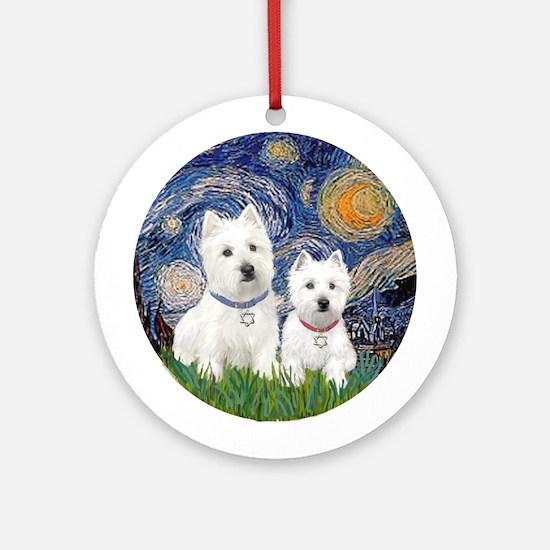 Starry-2Westies (custom) Ornament (Round)