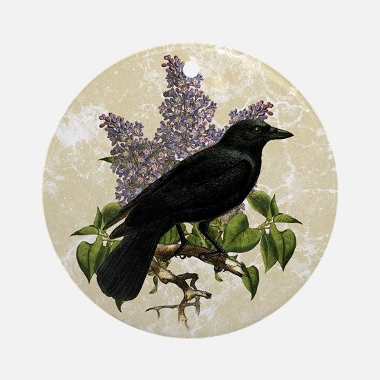 lilac-and-crow_9x12 Round Ornament