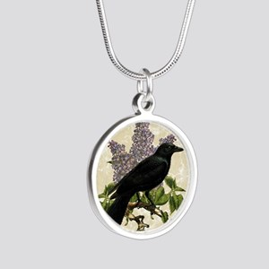 lilac-and-crow_9x12 Silver Round Necklace
