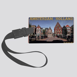 Amsterdam - Bridge and Buildings Large Luggage Tag