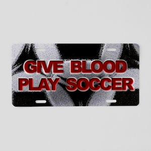 Blood Soccer Aluminum License Plate