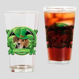 Happy St Patricks Day Beagle Drinking Glass