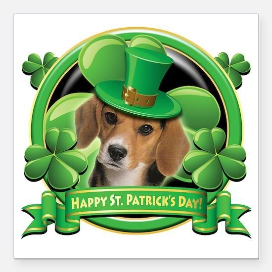 "Happy St Patricks Day Be Square Car Magnet 3"" x 3"""