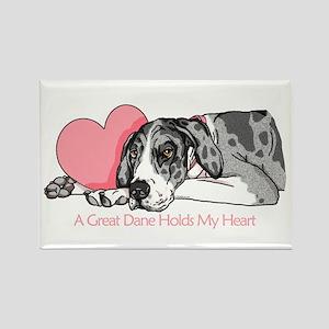 MerleB UC Holds Heart Rectangle Magnet