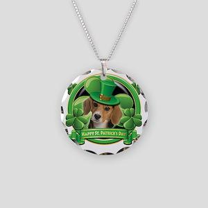 Happy St Patricks Day Beagle Necklace Circle Charm