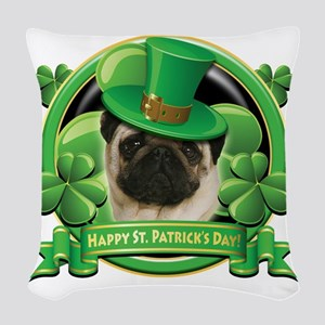Happy St Patricks Day Pug Woven Throw Pillow