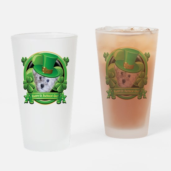 Happy St Patricks Day Schnoodle Drinking Glass