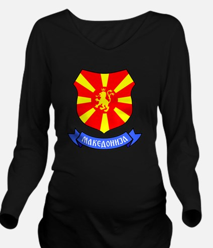 Macedonia Lion Crest Long Sleeve Maternity T-Shirt
