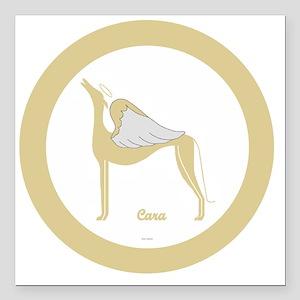 "CARA ANGEL GREY gold rim Square Car Magnet 3"" x 3"""