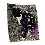 Freckles Tux Cat Flowers I Burlap Throw Pillow