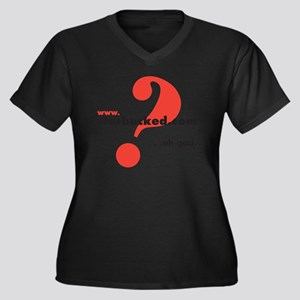 sb_sq_wht Women's Plus Size Dark V-Neck T-Shirt