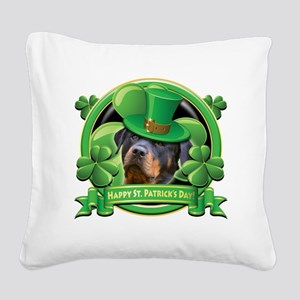 Happy St Patricks Day Rottwei Square Canvas Pillow