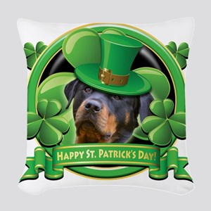 Happy St Patricks Day Rottweil Woven Throw Pillow