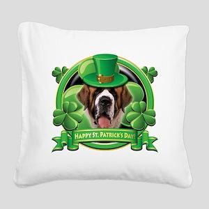 Happy St Patricks Day St Bern Square Canvas Pillow